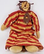Antique Cloth Raggedy Ann And Andy Toy Doll With Red And White Dress
