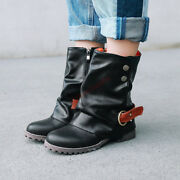 18 Vintage Womens Ankle Boots High Top Faux Leather Buckle Boots Flats Plus Size
