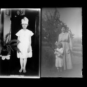 Lot Of 2 Women Mother Daughter Hat Photo Glass Plate Negatives C1910 5.5 X 3.25