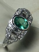 18ct.750. Deco Style. White Gold. Emerald And Diamond Ring. Size N. U.s. Size 7