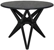 39 Round Dining Table Sungkai Solid Wood Charcoal Black Finish Modern