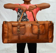Large Brown Vintage Genuine Leather Goat Hide Travel Luggage Duffle Gym Bags