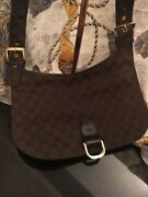 Used Authentic Gg Pattern Canvas Leather Dark Brown Shoulder Bag Gs1605