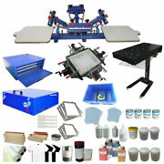 4 Color 2 Station Full Set Printing Kit Silk Screen Machine And Press Tools Supply