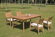 Dsvl A-grade Teak 5pc Dining Set 118 Rectangle Table 4 Stacking Arm Chair Patio