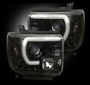 Recon Black Led Drl Bar Halo Projector Headlights For Sierra 1500 / 2500 / 3500