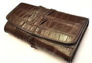 Genuine Crocodile Wallets Alligator Leather Tail Trifold Women's Brown Clutch