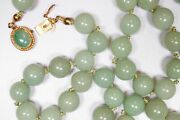 Stunning Vintage China 14k Gold Jade Bead Necklace X585b