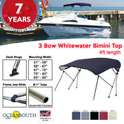 Oceansouth 3 Bow Bimini Top Boat Cover 4ft Long With Rear Support Poles