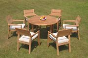 Dsvl A-grade Teak 7pc Dining Set 48 Round Table 6 Stacking Arm Chair Outdoor