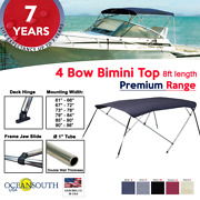 Oceansouth 4 Bow Bimini Top Premium Range Boat Cover 8ft Long With Rear Poles