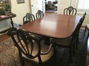 Dining Room Table With 8 Chairs. Old English Mahogany Expandable With 3 Leaves.