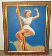 Vintage Oil On Canvas Gorgeous Pin-up Sailor Girl Painting Signed Gold Frame