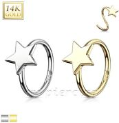 Star 14 Karat Solid White Gold And Yellow Gold Nose Hoop Ring 20g 5/16