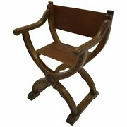 American Craftsman Leather Campaign Prayer Chair