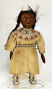 C1880and039s-90and039s Plains Doll All Wood Face Body Legs Arms 11.5 X 5 Hide Beads