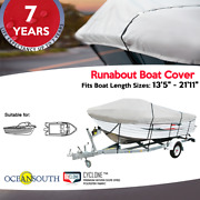 V-hull Runabout Boat Cover Heavy Duty 100 Solution Dyed Polyester