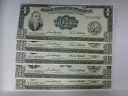 1949 One Peso Banknote 5 Consecutive Notes Central Bank Philippines P 133f