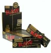 Authentic Raw Classic Black 1 1/4 Natural Unrefined Rolling Papers 24 Packs