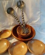 9 Pcs Woodcroftery Wooden Salad Bowl + Serving Spoon And Fork