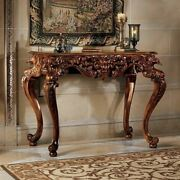 Antique European Style Hand-carved Solid Mahogany King Frederic Console Table