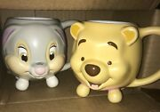 Disney Store 3d Ceramic Face Mugs Winnie The Pooh And Thumper