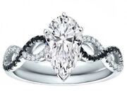 Forever One Pear Moissanite Diamond Cut Black And White Infinity Engagement Ring