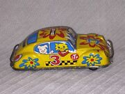 1960and039s Vintage Tin Litho Friction Yellow Stp Taxi Car Kashiwai Toy Made In Japan
