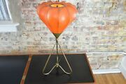 Mid Century Modern George Nelson Style Bubble Lamp With Brase Tripod Base