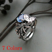 Antique Silver Lotus Leaf Dragonfly Sterling Silver Rings Aquamarine Oval Gem