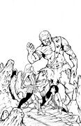 Original Fantasy Art Comic Book Cover Ink By Jesse Thomas - Battle For Snowhaven