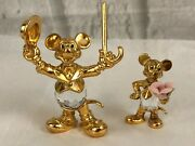 Lencia Austria Mickey Mouse Crystal Gold Tone Figurines Lot Of 2 Collectibles