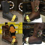 Menand039s Steel Toe Work Boots Pull On Safety Genuine Leather Oil Resistant Brown
