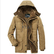 Winter Warm New Padded Parka Mens Jacket Thicken Coat Russian Wadded Long Hooded