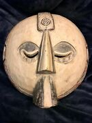 Hand Carved Wild Tribal Round African Mask Ghana 16andrdquo High X 14.75andrdquo Diameter