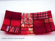 Games Of Colors A Decorative Fused Glass Plate A Gentle Color Mix-red