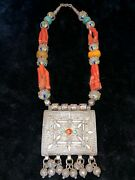 Very Precious Vintage Berber Silver Quran Box Strand With Natural Red Coral