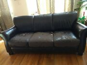 Used Leather Sofa And Loveseat Dark Brown Raymour And Flaniganandnbsp