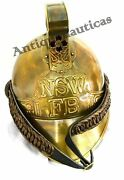 1800's Brass Fireman French Helmet Antique Reproduction Firefighter Sca Nautical