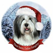 Holiday Pet Gifts Bearded Collie Gray And White Santa Hat Dog Porcelain Ornament