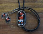 Vintage Zuni Sterling Silver Inlay Mudhead Kachina Bolo Tie By Beverly Etsate