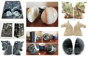 New Heavy Marble Bookends In Onyx Cream Fossil Stone And Black Sphere And Horse