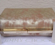 New 1095 Jimmy Choo Clutch Cate Metallic Gold Foiled Nude Blush Suede
