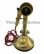 Antique Vintage Look Brass Retro Rotary Dial Candlestick Telephone Home Decor
