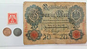 Ww2 Rare 1rp German Coins And Stamp And 20 Mark Bill In Holder.
