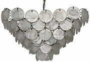 32 Chandlier Round Clear Glass Hangs From Tapered Black Metal Frame Antique