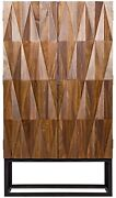 75 Tall Hutch Solid Walnut Natural Finish Raised Triangle Double Doors Metal
