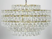 29 Chandlier Clear Glass Crystal Tear Drops Hang From Round Metal Frame