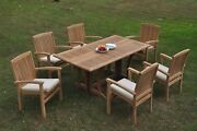 Dswv A-grade Teak 7pc Dining Set Warwick Console Rectangle Table Stacking Chair