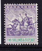 Barbados 1903 Sg115 2/6 Violet And Green Wmk Crown Ca Superb Used. Cat Andpound300